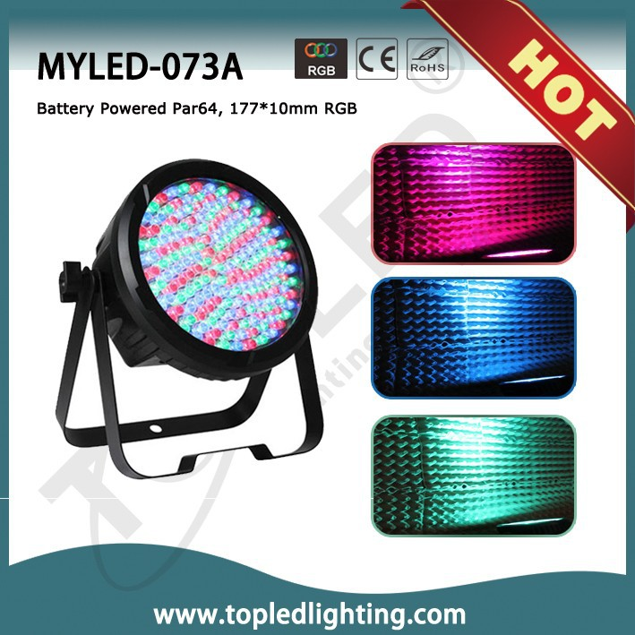 Battery Power RGB 3in1 177*10mm Par 64 Rechargeable LED Light