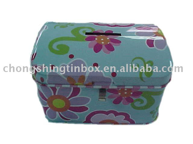 Flower printed metal saving tin box,coin bank