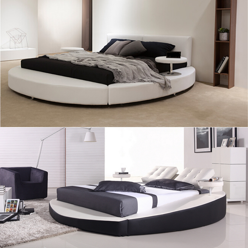 European Design Circle Bed with 2 Small Coffee Tables on Side, Guangdong Foshan King Size Cheap Round Bed Prices