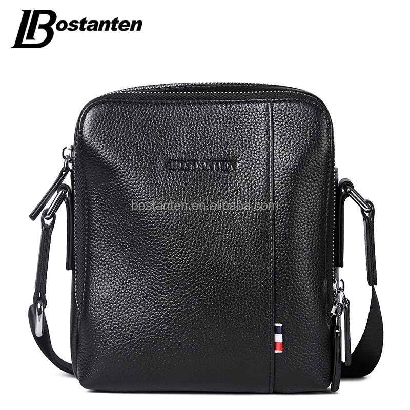 2017 Trending high quality men genuine leather shoulder messenger bag