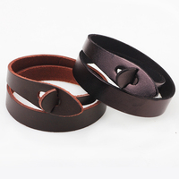 XP-LB-2160 fashion hot sale Double circle two-loop leather bracelet for women