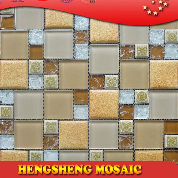 Latest design decoration wall tile floor tile glass mix ceramic mosaic garden mosaic stepping stone