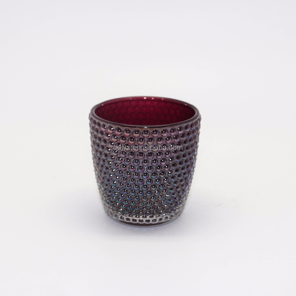 Hot Sale Rainbow Color Hobnail Glass Candle Holder With Wooden Lid