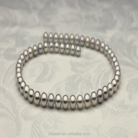 7.5-8mm Natural Sliver Round Akoya Pearl Necklace High Quality Strand