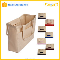 Wholesale Recyclable Plain White 12oz Cotton Canvas Tote Bag With Front Pocket