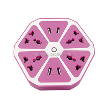 220V new design 6 way plug outlet hexagon colorful multi electrical extension socket with 4 usb ports