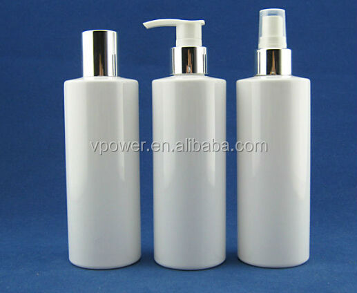 270ml white plastic PET bottle with aluminium pump,aluminium spray for skin care