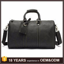 Hot sale black color soft leather tote luggage travel bag cover