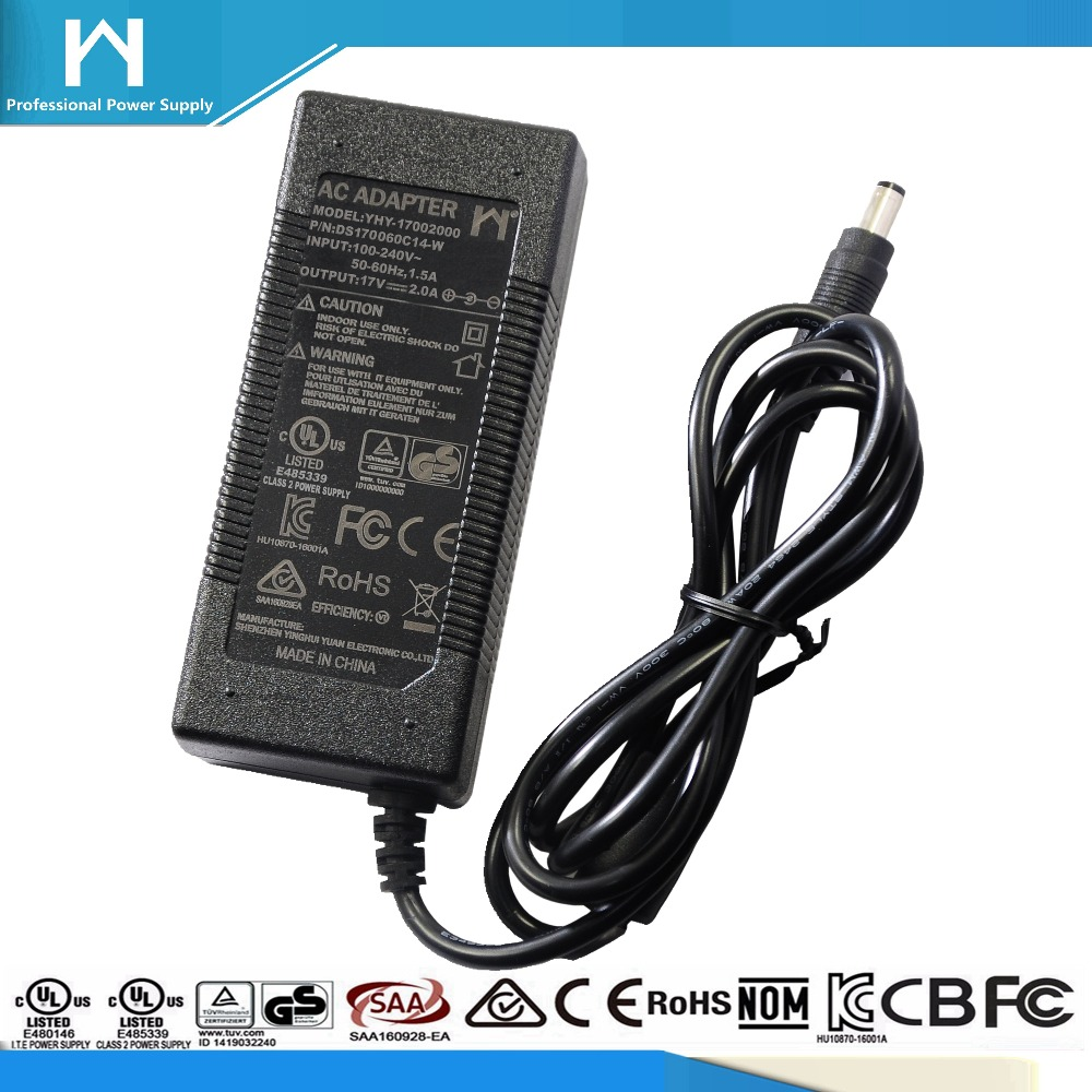 universal power adapter 17V 2A ul 17Vdc 2Amp 34W ac dc adaptor