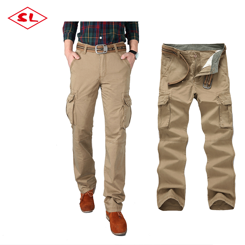 100% cotton solid color woven 6 pockets mens cargo pants