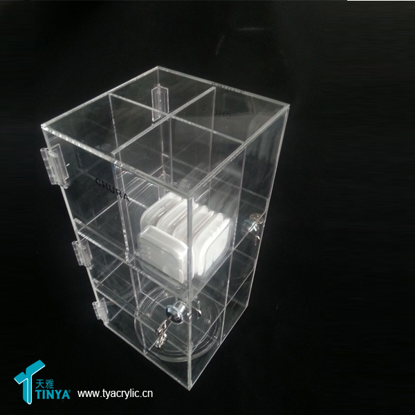 Shopping Lockable Counter Custom Wholesale Acrylic Phone Charger Display Box Mobile Accessories Plastic Cabinet Display Shelf