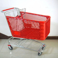 Strong Supermarket 100L plastic shopping cart with red plastic basket