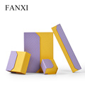 FANXI 2018 Bag-type Design Yellow And Purple Color Paper Boxes Cheap Earring Bracelet Necklace Custom Jewelry Box