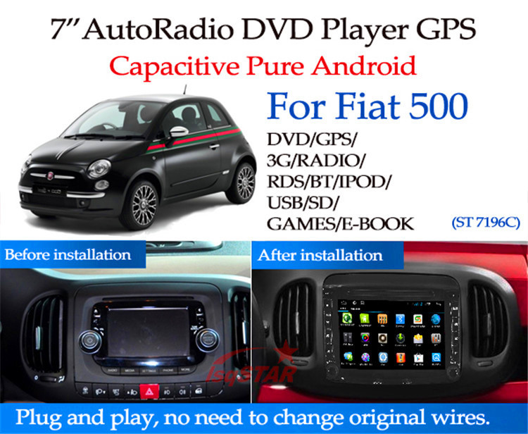 Multi-touch screen 4-core Fiat 500 Car radio GPS with Wifi+DVD+Radio+BT phonebook+Ipod list+USB +SWC+ATV+MP4/MP5+GPS