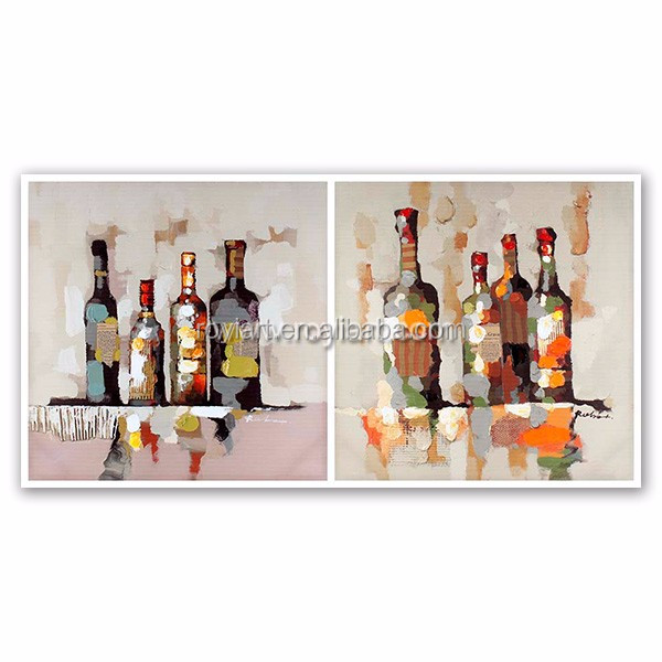 2016 2 panels Wine Bottle Oil Painting Wall art for decoration