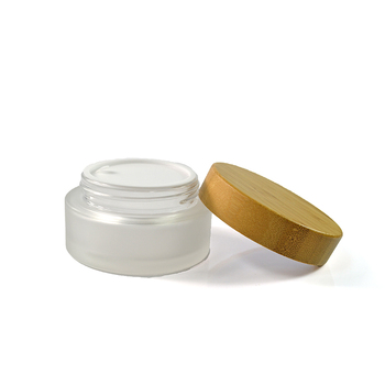 glass jar with bamboo lid for cosmetic cream