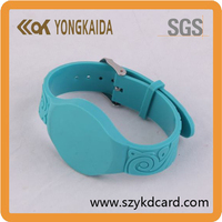 High quality silicone adjustable rfid wristband with 13.56Mhz f08 chip