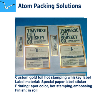 Custom printing gold hot stamp paper sticker for whiskey bottle