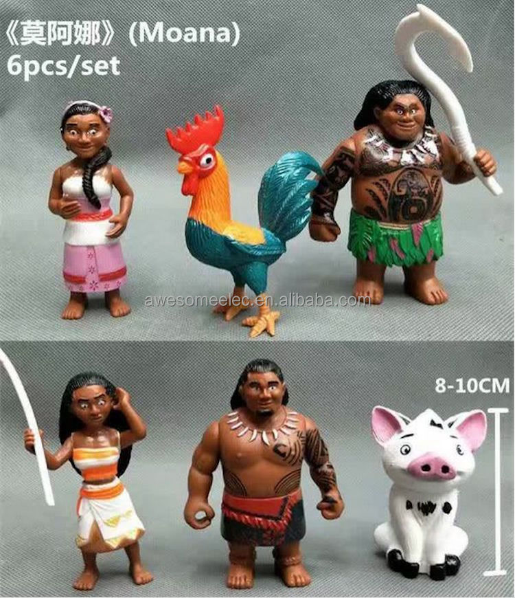 6PCS/SET Hot Movie Moana Maui Pua Decor Mini 10cm Action Figure PVC Plastic Doll Toys