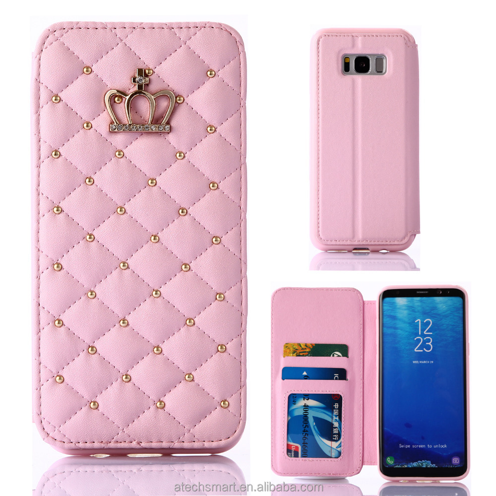 Lattice bling crown leather stand case for Samsung Galaxy S5 S6 S8 S8 plus note 4 5 note 8 A3 A5