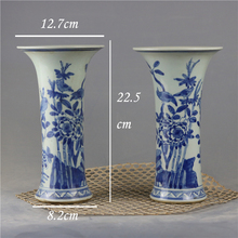 Qing Dynasty china Kangxi home goods decorative blue and white plant vase
