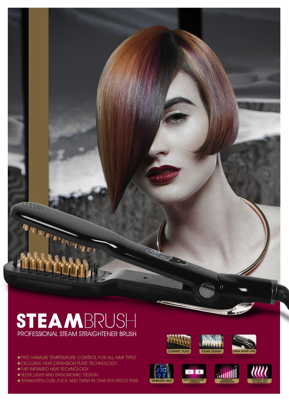LCD Electric Hair Straightener Comb Iron hair straightener brush