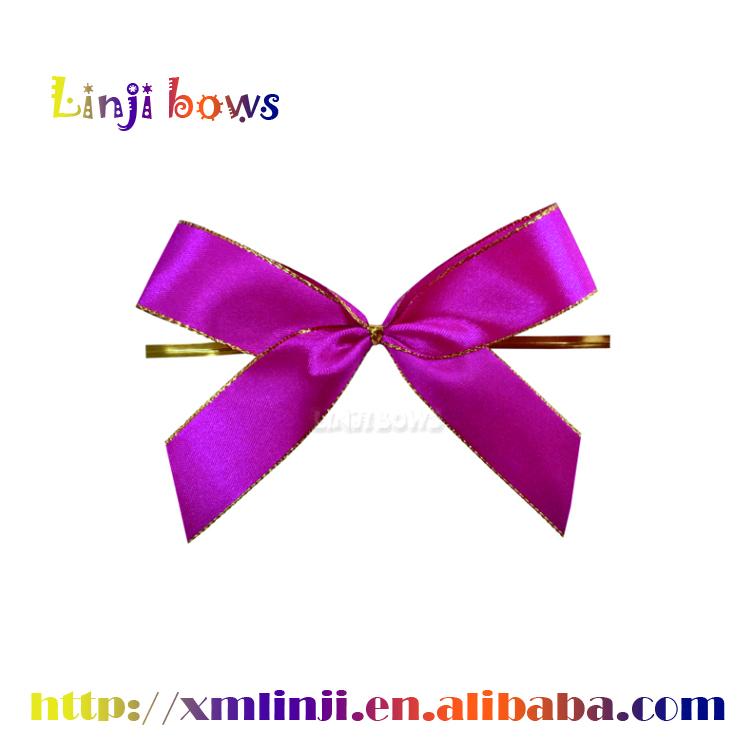 High Quality Metallic Ribbon bows With Wire Twist Tie Christmas Theme Gift Wrapping Bows