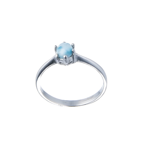 Newly handmade design Larimar Jewelry Gemstone silver ring 925 sterling opal gemstone silver jewelry