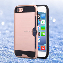 HIgh quality 2in1 hybrid card slot cell mobile phone case for iPhone 7, Brushed Metal PC TPU card holder case for IPhone 6