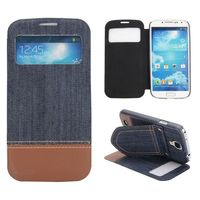 Mix Color Jeans Cloth Texture With Holder and Caller ID Window Leather Case For Samsung Galaxy S4 i9500 i9505 i9508