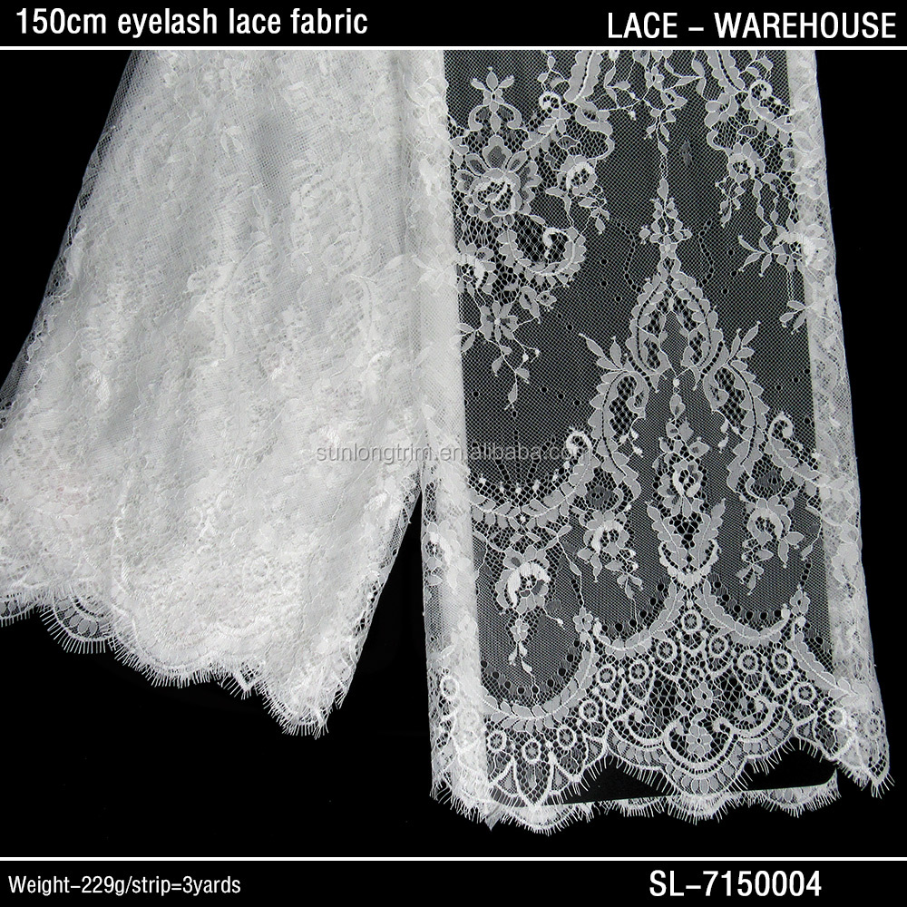 Wholesale fashion african 150cm wide nylon eyelash lace fabric for bridal dress/ nylon chantilly lace trim fabric