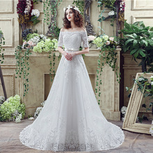 WTS17 Long A Line Lace Beach Wedding Dress 2018 Tulle Beading Vestido De Noiva Lace Appliques Bridal Gown
