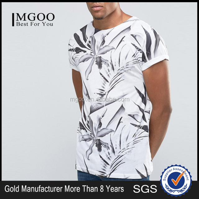 MGOO Fashionable White T-shirt All Over Print Rolled Sleeves Mens Shirt With Sublimation Print