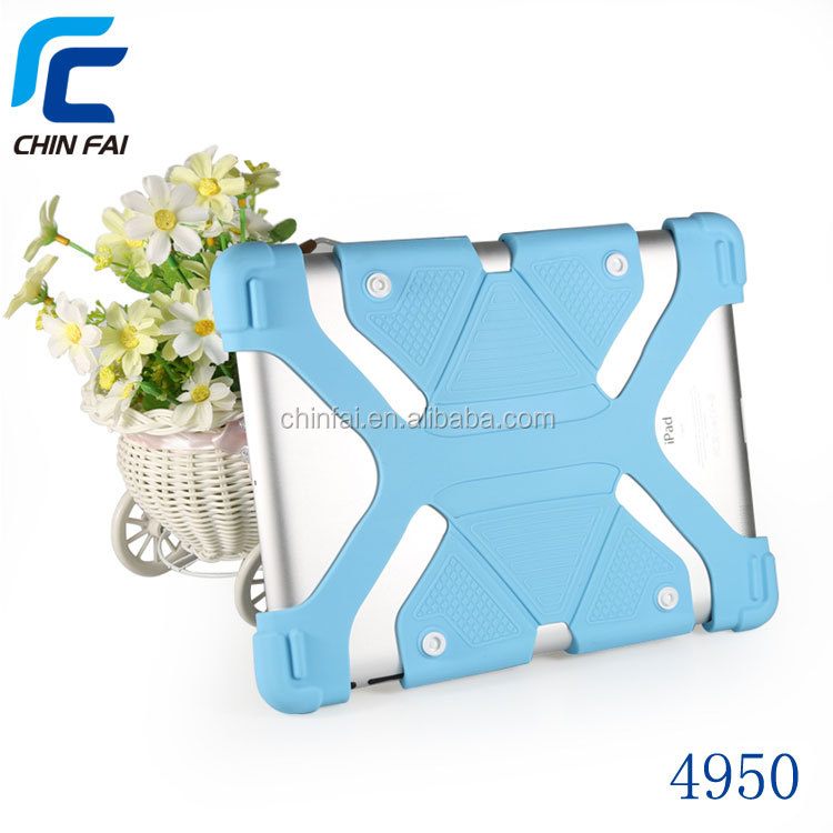 Silicone stretchy universal rugged tablet case for all tablets with stand