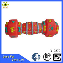 Cartoon picture printed Dog nature rubber squeaky dumbbell toy
