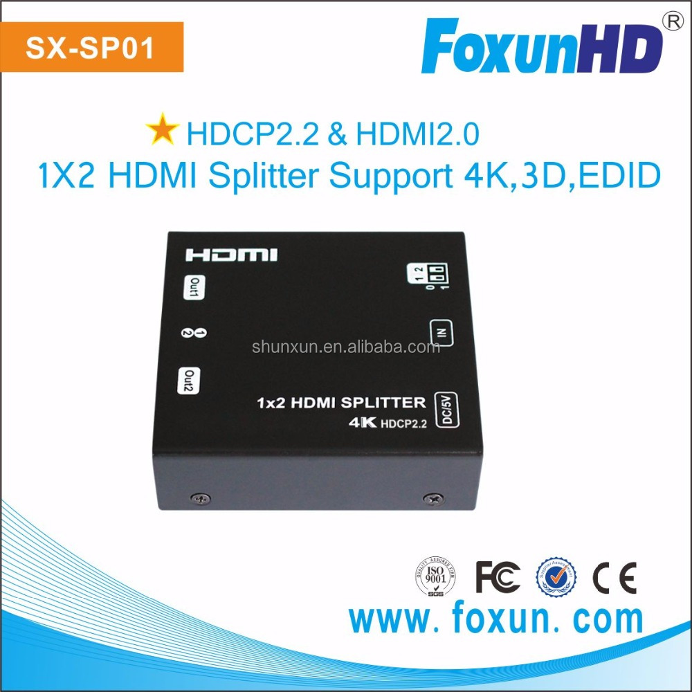 SX-SP01 1 input 2 output audio splitter hdcp2.2 in 1.4 out support 4K@60hz 1x2 hdmi splitter