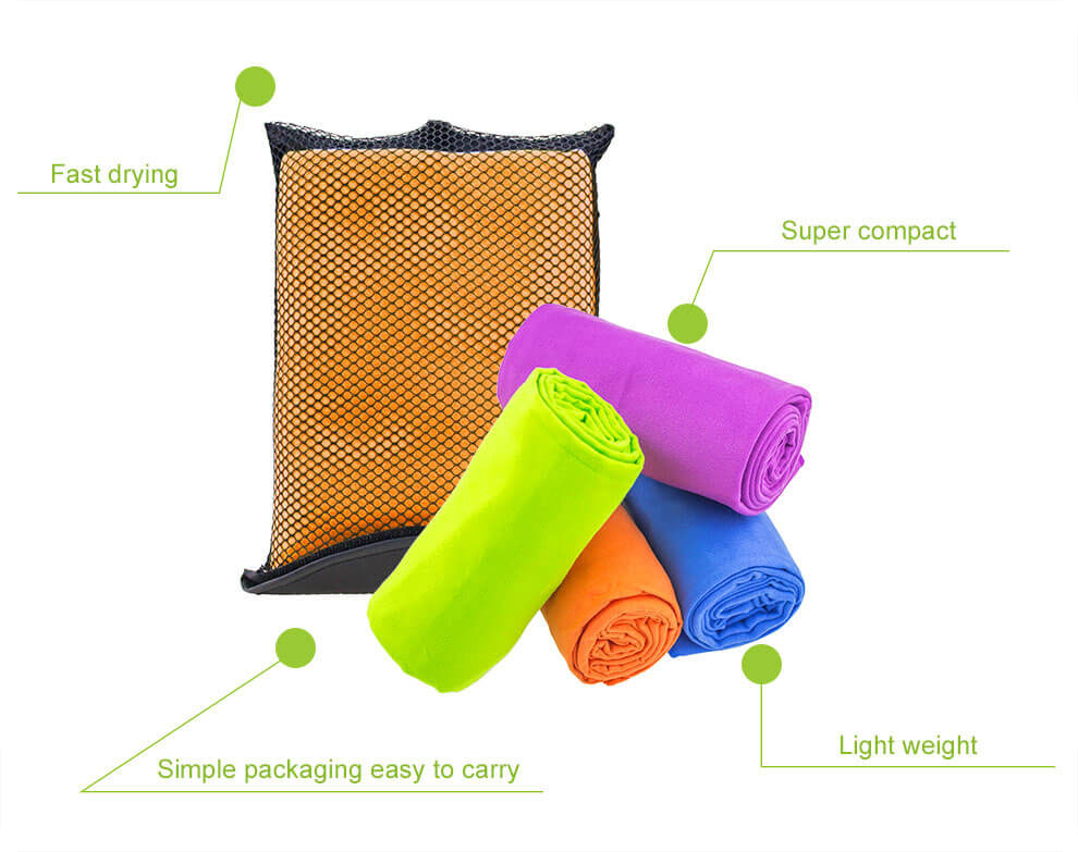 2018 Hot sale high quality customized microfiber travel towel with mesh bag