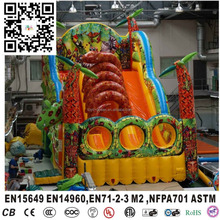 Hot inflatable dry slide with snake design, giant dragon inflatable slide