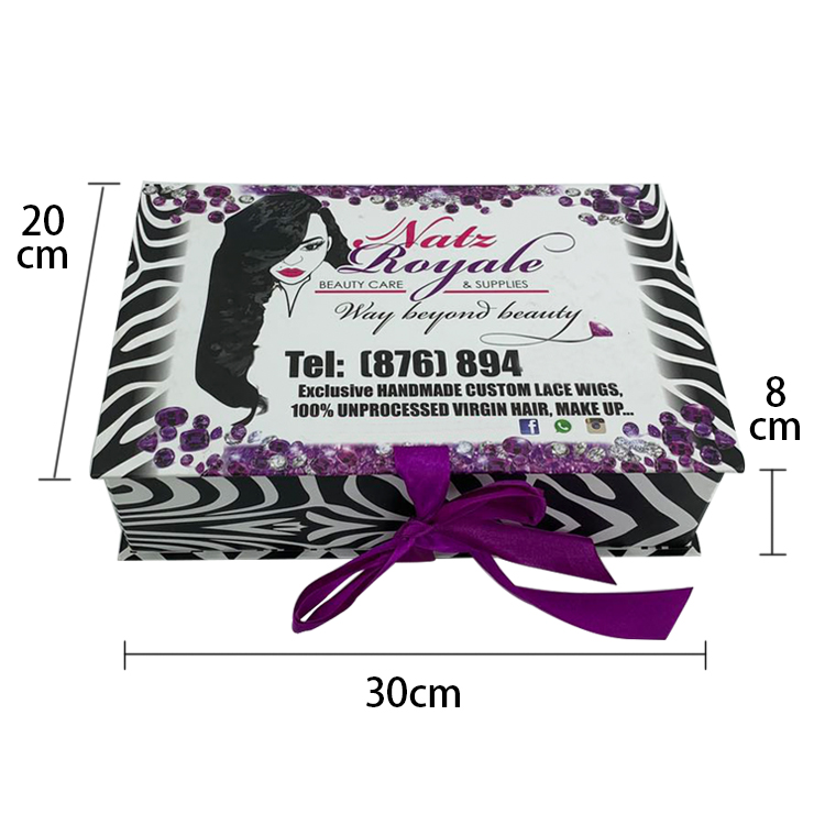 Custom logo wholesale ribbon closure foldable wig box hair extension bundle packaging