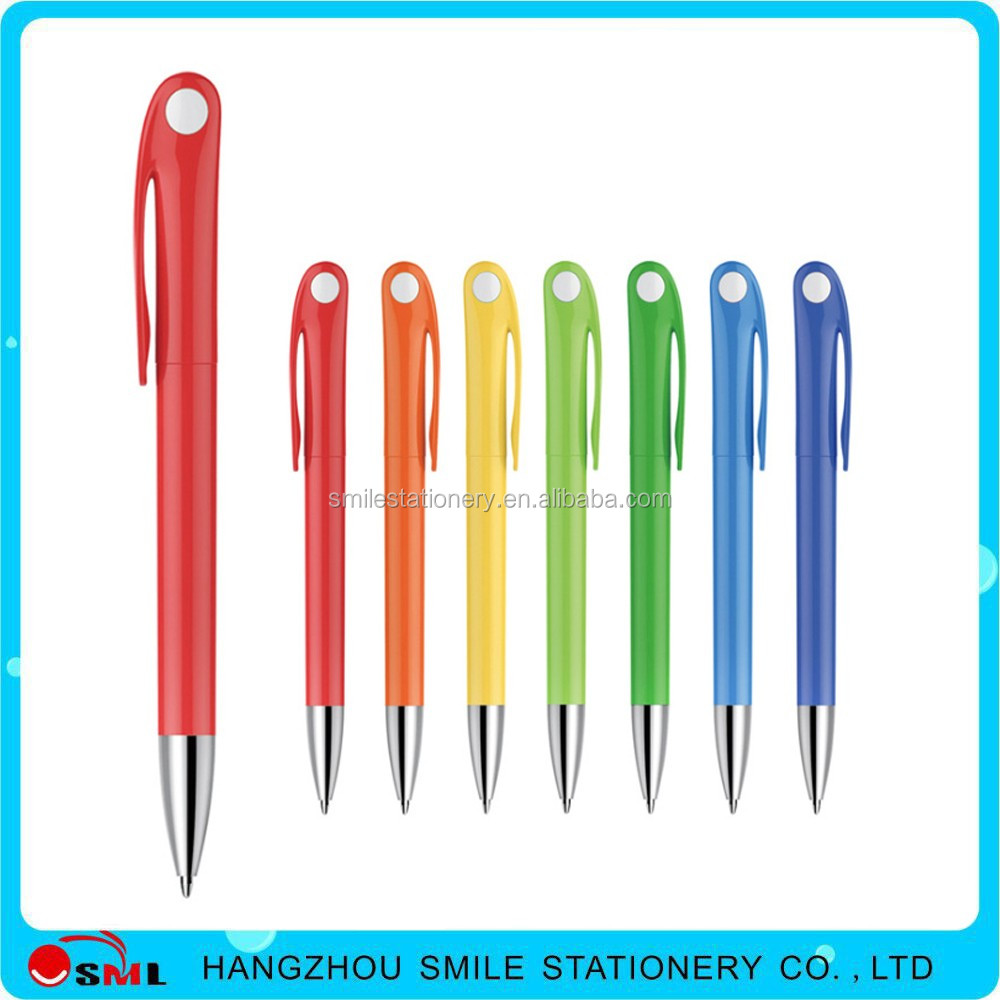 Simple style twist plastic ballpoint pen with special clip