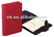 Red black pu cover calendar notepad with binder