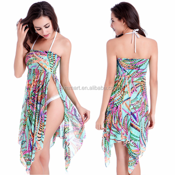 3 Wear Options Transparent Strech mesh Convertible Beach wear cover up