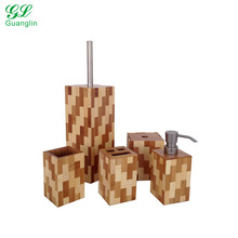 Eco-friendly two color bamboo toilet brush holder