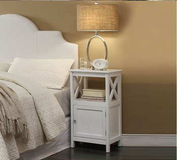 Modern White Design Nightstand Wooden Bedstand Bedroom Furniture