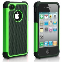 Hybrid Dual Layer Protective Case Cover with Hard Plastic and Soft Silicone For IPhone 4S