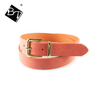single color orange PU leather women belts with gold buckle