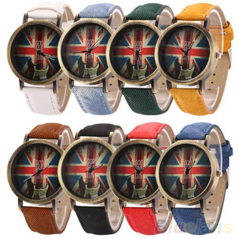 Men's Women's Vintage Bronze Denim UK Flag Guitar Analog Quartz Dress Wrist Watch  1PX1 235O
