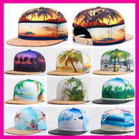 Latest trendy Summer 3D Printing Coconut Tree Hip Hop Flat Bill Hawaii Cap Wholesale