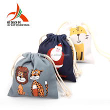 China Supplier cotton drawstring cotton canvas gift bag high quality logo custom