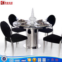 metal tempered Glass Top Dining Table